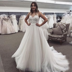Beach Wedding Dresses Lace Appliques Zipper Back A-Line Country Garden Mariage Bridal Gowns Sweep Train Robe De Mairee