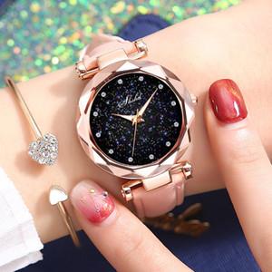 Роскошные женщины Часы моды Starry Sky Dial розового золота кварцевые наручные часы кожаный ремешок Ladise часов Relogio Feminino