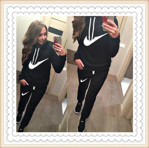 Neue Frauen-Aktiv-Satz Trainingsanzüge Hoodies Sweatshirt + Pant Rennen Sport Trainingsanzüge 2 Stücke Sätze Joggen survêtement femme Kleidung