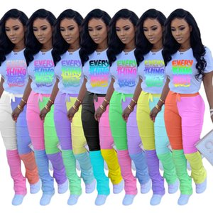 2020 women tracksuit 2 Two Piece Outfits sets letter t shirts contrast color Pleated flare pants sportswear clothes jogging femme clothing