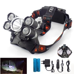 Potente alta del faro 5 LED T6 / Q5 la lámpara ligera de la antorcha frontal del faro Lanterna Hoofdlamp 18650 Pesca de la batería