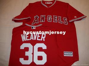 """Cheap personalizzato MAJESTIC # 36 Jered Weaver """"COOL BASE"""" Baseball maglia rossa Mens cucita maglie grande e grosso formato XS-6XL In vendita"""