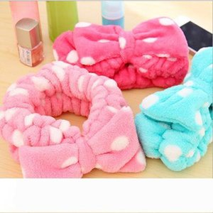 Bath Shower Headband Cute Bowknot Headscarf Flannel Elastic Headbands Make Up Hair Band Towel Women Hair Ornament 12 Designs YFA208