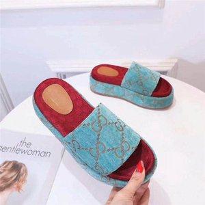 2020 ROSE BEIGE DOUBLE G PILAR PLATFORM WEDGE MULE ESPADRILLE SHOES Flat Sandal slippers With Original Box