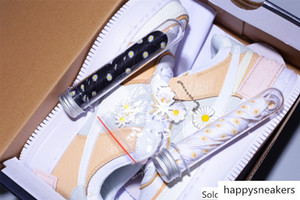 luxury High Quality NK Air Force 1 One Womens AF1 Macaron Candy Cream Little Zou Ju Splicing Running Shoes with Flower Accessories