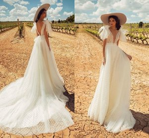 A-line Wedding Dress 2020 Backless Wedding Gowns Elegant Bride Dress Classic White Point Long Dress Abito Da Sposa