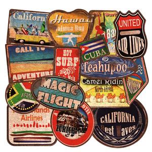 Pack of 36pcs Wholesale Summer Beach Vintage Stickers Retro Travel decals Guitar Laptop Luggage Skateboard Motor Bottle Car Decal Bulk Lots