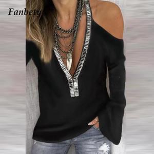 المرأة البلوزات قمصان المرأة مثير الخامس الرقبة الترتر الشيفون بلوزة قميص الخريف أنيقة قبالة الكتف مكتب سيدة طويلة الأكمام blusa قمم 5xl