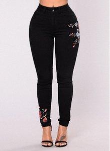 Kadınlar Çiçek Baskı Siyah Kot Seksi İnce Moda Denim Uzun Pantolon Kot Kadınlar Giyim Streewear Skinny Jeans Ücretsiz Kargo cXEr #