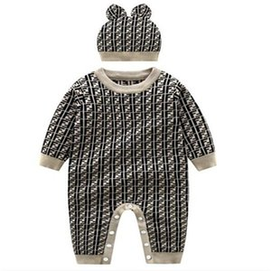 Newborn Boys Girls Rompers Sweaters Baby Pullover Knit Kids Clothes Autumn Winter New Kids Sweaters Infant Boy Girl Jumpsuit+ Hat
