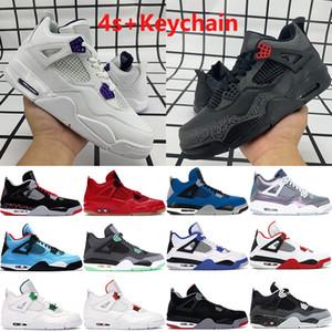 Jumpman 4 4S homens tênis de basquete OVO Splatter vermelho metálico roxo criados gato preto Monsoon azul homens Sneakers Trainers US 7-13