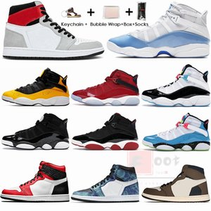 With Box Keychain Socks 6 UNC Space Jam Bred 6s Rings Mens Basketball Shoes Jumpman 1 1s Smoke Grey Travis Scotts Sports Sneakers Size 13