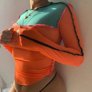 Mesh Patchwork Mode Femmes Hauts Clubwear Y2K See Through T-shirts Maigre Sexy couleur contraste Loisirs Streetwear chemises