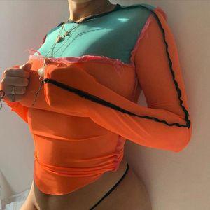 패치 워크 패션 여성의 메쉬 섹시한 스키니 티 색상 대비 레저 스트리트 셔츠를 통해 Clubwear Y2K 페이지의 탑