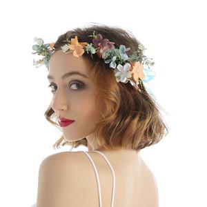 5pcs / Lot Art und Weise Garland Imitation Blumen-Stirnband Adjustable Stoff Hochzeit Haar-Band für Frauen Bride Dress Up Hair Bands Schmuck