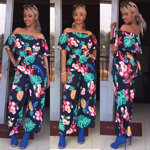 2020 New Clothing Cheap China wholesale European and American Women's Jumpsuits & Rompers Printed word shoulder jumpsuit