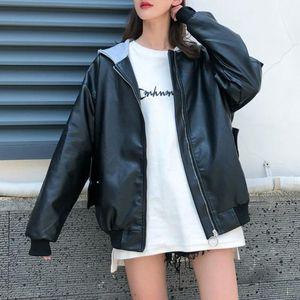Faux de cuero femenino 2021 Fall PU Jacket Mujeres Chaquetas con capucha Motocicleta Casual Coreano Moda Chica joven Flow Outerwear Gótico