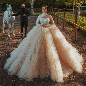 Ball Gown Wedding Dresses One Shoulder Sequined Long Sleeves Wedding Dress Plus Size Rufflus Tulle Bridal Gowns High Quality