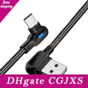 빠른 샤오 미 C 형의 USB의 C 고속 충전기 데이터 케이블 삼성 S10 용 LED 조명 케이블을 충전 더블 팔꿈치 90도 마이크로 USB 케이블 전화