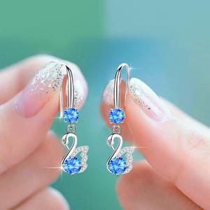 S925 allergy-proof sterling silver earrings - web celebrity white earrings, long swan ear hook earrings