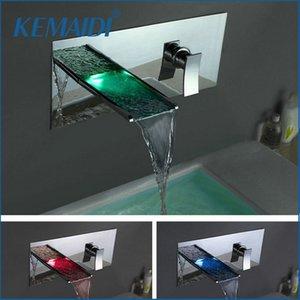 KEMAIDI 욕조 LED 수도꼭지 LED 폭포 수도꼭지, 믹서 도청 물 전원 LED 믹서 목욕 수도꼭지 벽 세트 3 개 홀 탑재