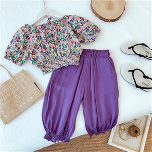 INS Newest Little Girls Outfits Floral Shorts Blouses Sets Ruffles Pants 2Pieces Suits Children Clothing Set