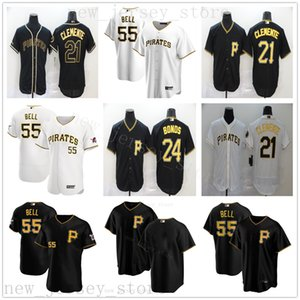 2020 Yeni Sezon Beyzbol 21 Roberto Clemente Formalar Dikişli 24 Barry Bonds 55 Josh Bell İyi Kalite NK Beyaz Ev Siyah Alternatif Jersey