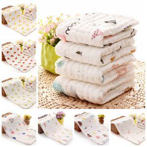 Детская Отрыжка Полотно 100% хлопок марлевого Новорожденного Полотенце Муслин Baby Face Полотенце Детские ванна Wrap Wipe Ткань 17 Designs 100шта DW4154