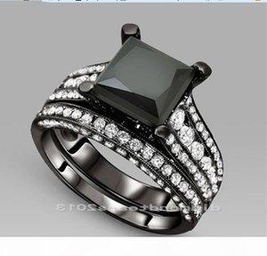 L L Size5 6 7 8 9 10 Victoria Weick Vjewelry 14kt or noir Filledblack Saphir Or Zircone Femmes de fiançailles de mariage Bague de mariage Se