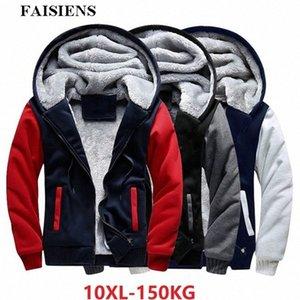 FAISIENS hommes Vestes plus grande taille 7XL 8XL Big capuche chaud épais Toison Parkas 9XL 10XL Hiver Noir Patchwork Out Wear Manteau Mens Ja rjn9 #