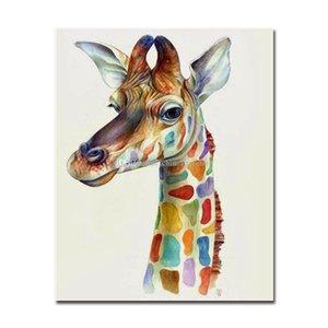 Drucke Handpainted HD abstraktes buntes Giraffen-Tier-Kunst-Ölgemälde auf Leinwand-Wand-Kunst Home Office Deco Qualität 2