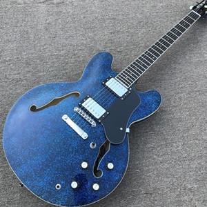 Personalizada al por mayor nuevo doble f agujero azul del metal Jazz guitarra eléctrica de caoba diapasón de la guitarra eléctrica para proporcionar servicios personalizados