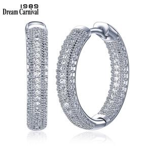 DreamCarnival 1989 orecchini a cerchio di nuovi arrivi prezzo stupefacente di lusso per le donne Sparkling bianco zirconi Femme Aretes SE24112 CX200801