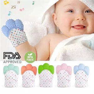 Los dientes del bebé Guantes Teether chillona Grind Chew Toys sonido precioso Teethers bebé recién nacido Juguetes dentición alivio del dolor Práctica Juguetes DHE162