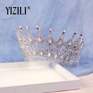 YIZILI New Luxury Big Wedding Bride Corona strass di cristallo splendido grande rotonda Regina Corona Wedding Accessori per capelli C070 MX200720