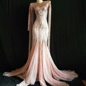 Wome Sexy кисточка розовых длинного платья Sparkly Rhinestone вечер женщины партия костюм ночного клуб Party Singer Performance Stage Wear