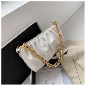 RAVIDINO Толстые цепи сумки на ремне для женщин плиссированной Sling сумка