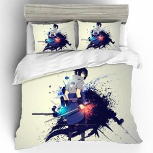 NARUTO 우치하 사스케 침구 세트 높은 자격을 갖춘 리넨은 일본 킹 사이즈 홈 섬유 침구 세트 어린이 침대 리넨 세트