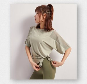 2020 new sports women T-shirt short-sleeved loose casual shoulders mesh gown fitness top running quick-drying yoga clothes breathble1