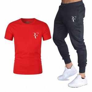 YUANHUIJIA impressa T-shirt de manga curta T-shirt moda casual solta dos homens + Calça de Jogging esportes roupa nova 1GOf # masculina