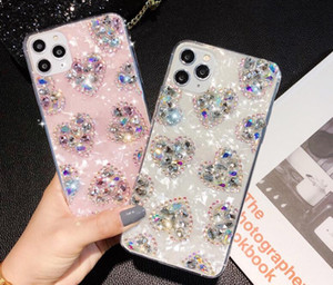 다이아몬드 사랑 심장 소프트 TPU 케이스 아이폰 (11) 프로 맥스 XS MAX XR X 7 8 6 플러스 패션 블링 시니 호일 쉘 휴대 전화로 돌아 가기 스킨 커버