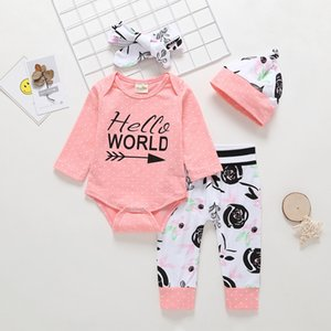dOAQD New 2019 autumn letter printing long sleeve pure cotton clothing infant clothing four-piece set Set of 4 Children's children's Childre