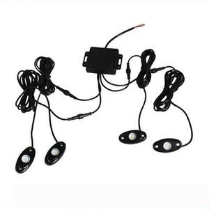 10 conjuntos 9W alta potencia 9-30V Mini Bluetooth 4 vainas CREE LED RGB kit de luz de la roca Por debajo del vehículo del carro del coche SUV de bricolaje