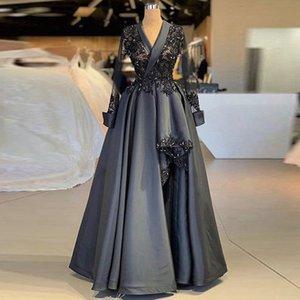 Long Sleeve V-Neck Elegant Evening Dress Lace Satin Split Floor Length Asymmetrical Prom Dress Party Gown robe de mariee