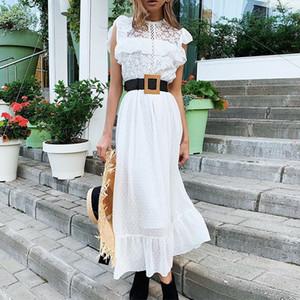 Mousseline de soie dentelle longue robe blanche Splicing femme élégante volantée col rond manches Robes Femme 2020 Lady Casual robe Bureau