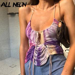 Damen Tanks Camis Allneon Y2K E-Girl Tie Dye Halfter Bandage Rüppeltisch Tops Sweet Chic Backless Tiefes V-Ausschnitt Lila Cami Top Streetwear