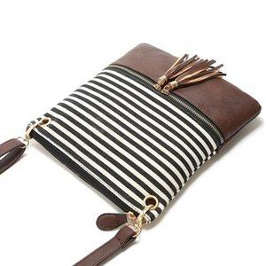 Women Stripe Tassel Handbag PU Leather Canvas Patchwork Crossbody Bag Stitching Contrast Color Storage Bags OOA7599-14