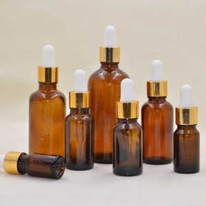 free shipping 1pcs Lot Amber Glass Dropper Bottle For Essential Oil 5ML 10ML 15ML 20ML 30ML 50ML 100ML Pipette Bottles