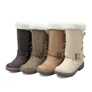 size 35 to 43 casual lace up beige flat heel mid tube fur boots woman ankle booties female boots