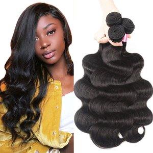 Brazilian Body Wave 3 Bundles Hair 100% Human Hair Weave Natural Black Non-Remy Body Wave Bundles Deals for Black Women 10-28 Inches